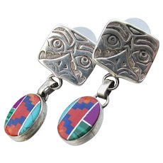 Signed Carrol Felley Vintage Sterling EAGLE Tribal Dangle Turquoise & Coral Earrings