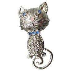 Cute 1980's Liz Claiborne Kitty Cat Rhinestone Pin