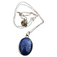 Lapis Lazuli Oval Pendant Sterling Silver Vintage Necklace
