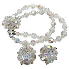 Aurora Borealis Crystal Bead Vintage 2 Strand Bracelet & Earrings Set