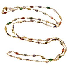 14k Gold & Multi Color Marquise Gemstone Long Necklace