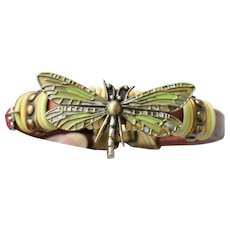 Leather Artisan Hand-Painted DRAGONFLY Cuff Bracelet