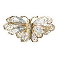 Gold on 800 Silver Vintage Plique a Jour Enamel Butterfly Pin