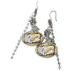 Artisan Antique French Soap Label & Butterfly Long Dangle Rhinestone Pierced Earrings