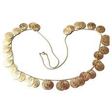 Long Collar Vintage COIN Dangle Necklace