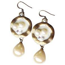 Faux Floating Pearl & Rhinestone Dangle Earrings
