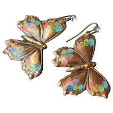 Colorful Hand Painted Antiqued Brass Butterfly Earrings