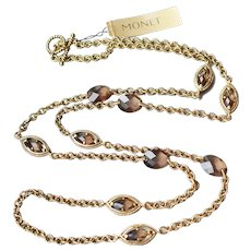 MONET Vintage Smoky Topaz Rhinestone Long Layering Necklace, New with Tag!