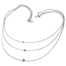Sterling Silver Graduated 3 Strand Floating Bead Vintage Necklace