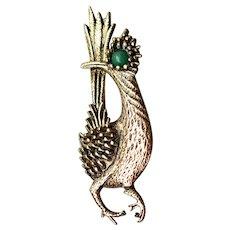 Signed AMBASSADOR Vintage Roadrunner Pin, Faux Malachite Green Eye