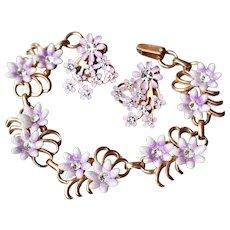 Pretty 1950's Vintage Lavender Enamel & Rhinestone Flower Bracelet & Earrings Set, Mint In Box!