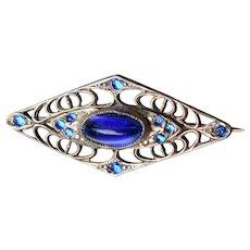 Antique Art Nouveau Sterling Silver & Sapphire Blue Glass Pin