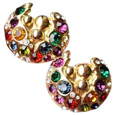 1980's Designer Signed Large Multi-Color Rhinestone Clip Earrings