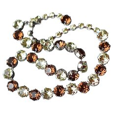 Unsigned Weiss Large Amber & Crystal Rhinestone Vintage Choker Necklace