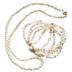 Freshwater Pearl Long Necklace & 5 Strand Bracelet Vintage Set