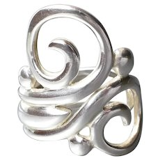 Long Sterling Silver Vintage Double Swirl Triple Band Ring, Size 7