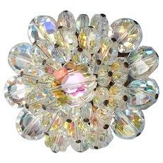 Brilliant Sparkle Vintage Aurora Borealis Swarovski Margarita Crystal Pin