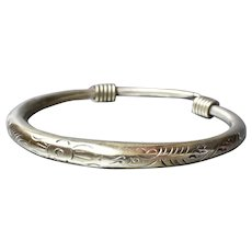 Antique 800 Silver Wrapped & Engraved Ethnic Bangle Bracelet