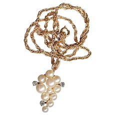 Signed KREMENTZ Vintage Gold on Sterling Silver Cultured Pearl GRAPE Bunch Pendant Necklace