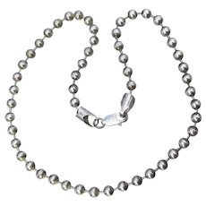Vintage Italian Sterling Silver 6mm Ball Bead Choker Necklace