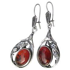 Sterling Silver & Baltic Honey Amber Long Drop Pierced Vintage Earrings