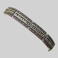 Art Deco Revival Sterling Silver Marcasite Vintage Bracelet