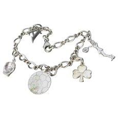 Sterling Silver Vintage 5 SPORTS Charm Bracelet