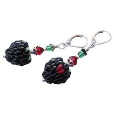 Sterling Silver BLACKBERRY Lampwork Glass & Crystal Artisan Dangle Earrings