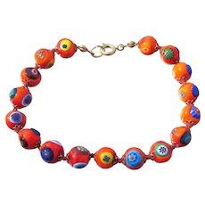 Orange Millefiori Italian Art Glass Bead Vintage 1950's Bracelet