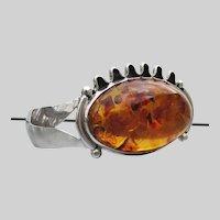 Spectacular Sterling Silver Honey AMBER Vintage Cuff Bracelet