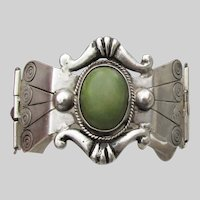 Outstanding Early Mexican 800 Silver & Aventurine Vintage Hinged Cuff Bracelet