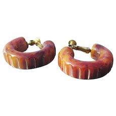 Carved Marble Caramel BAKELITE Adjustable Vintage Clip Hoop Earrings