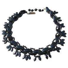 1930's Vintage Woven Black Glass Bead GERMAN Choker Necklace