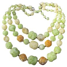 1950's Vintage Germany 3 Strand Citrus Fruit Salad Big Lucite Beaded Necklace