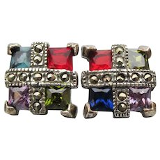 Sterling Silver, Marcasite & Multi Gemstone Vintage Square Stud Earrings