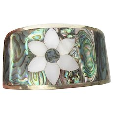 Abalone & Mother-of-Pearl Inlaid Flower WIDE Vintage Alpaca Cuff Bracelet