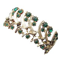 Signed ART Gorgeous Wide Emerald Green Rhinestone Vintage Mid-Century Bracelet