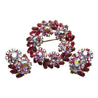 Crown TRIFARI Brilliant Red AB Rhinestone Vintage Pin & Earrings Set