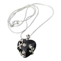 Sterling Silver Flower Wrapped Onyx HEART Pendant Vintage Necklace
