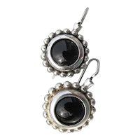 Sterling Silver & Onyx Drop Pierced Vintage Earrings