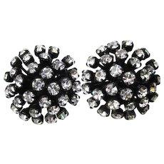 Dramatic SCHREINER Japanned Black Enamel Rhinestone Domed Vintage Earrings