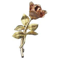 Signed KREMENTZ Rose & Yellow Gold Overlay ROSE Flower Vintage Pin