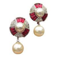 Signed MARVELLA Ruby Red Rhinestone Faux Pearl Dangle Vintage Earrings