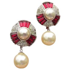 Signed MARVELLA Ruby Red Rhinestone Faux Pearl Dangle Vintage Earrings