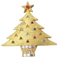 Signed DeNicola Vintage Rhinestone Christmas Tree Pin, Book Piece
