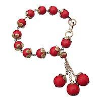 1940's Vintage Red Glass CHERRY Bead Dangling Charm Bracelet