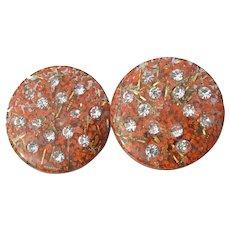 Orange with Gold GLITTER Lucite 1950's Vintage Rhinestone Earrings