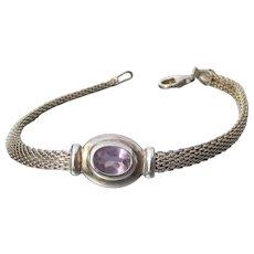 Sterling Silver Mesh & AMETHYST Vintage Bracelet