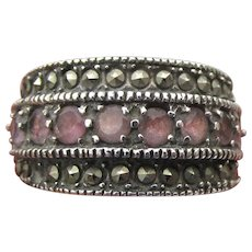 Sterling Silver, Amethyst, Marcasite Vintage Wide Band Ring, Size 5