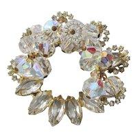 Juliana Dangle Aurora Borealis Crystal Bead & Marquise Rhinestone Circle Pin